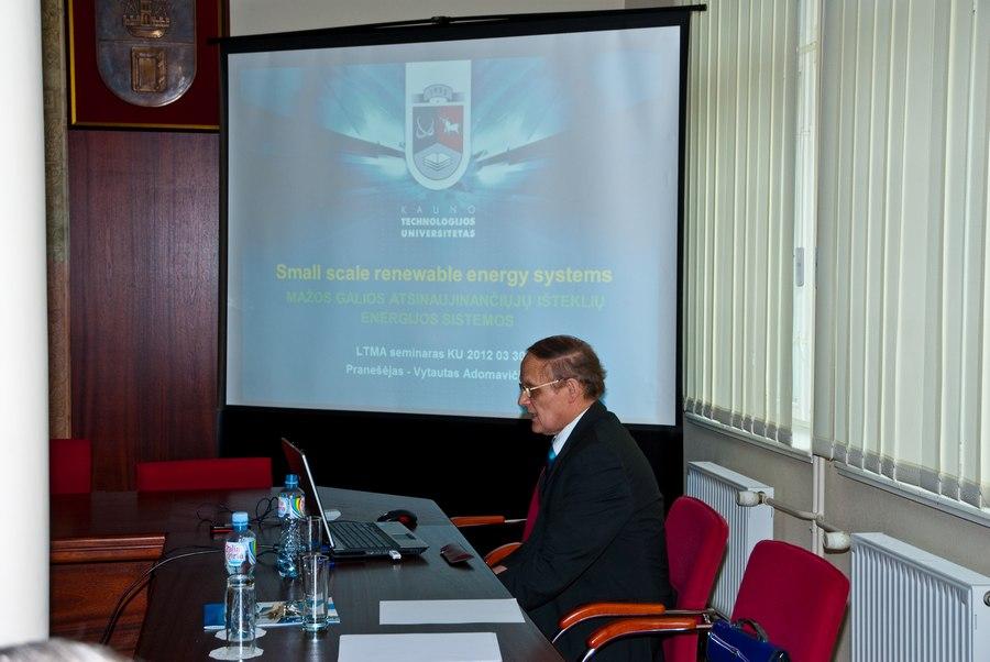 Dr. Vytautas Adomavičius. Lietuvos taikomųjų mokslų akademijos posėdis. Klaipėdos universitetas, 2012.03.30